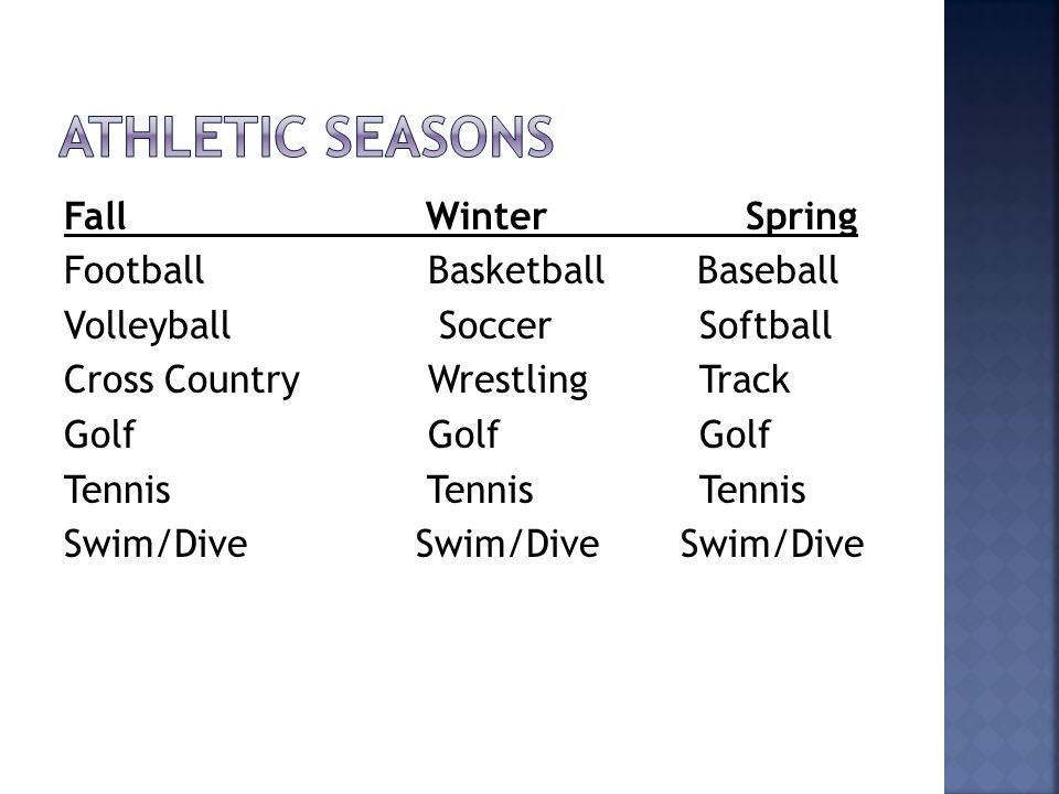 Fall Winter Spring Football Basketball Baseball Volleyball SoccerSoftball Cross Country WrestlingTrack Golf GolfGolf Tennis TennisTennis Swim/Dive Swi