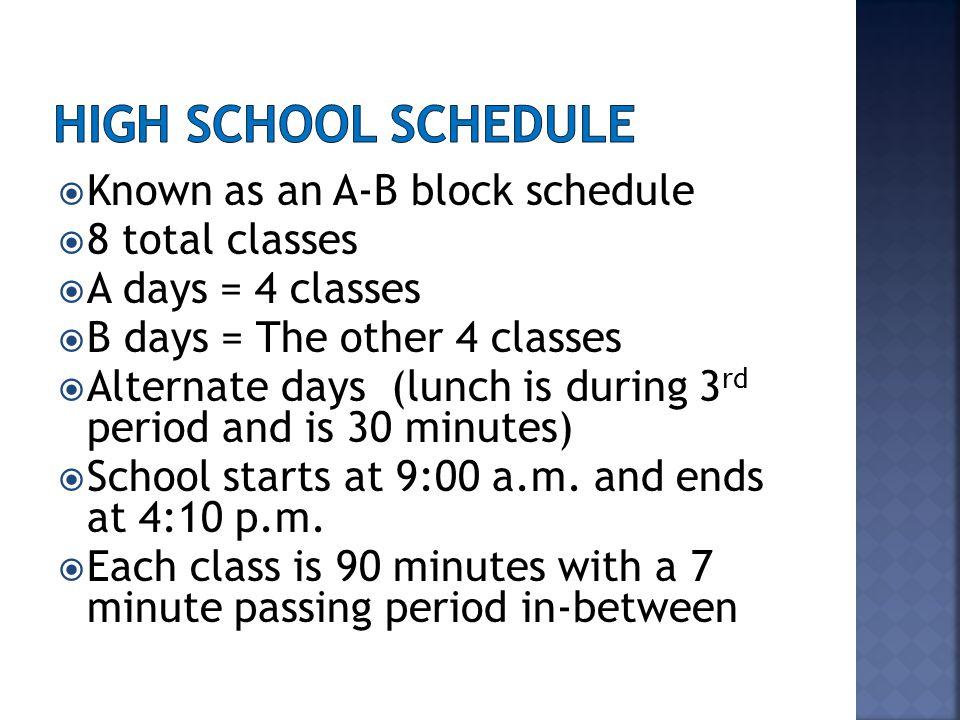 Block Schedule SundayMondayTuesdayWednesdayThursdayFriday Sat urd ay A Day Periods 1-4 B Day Periods1-4 A Day Periods 1-4 B Day Periods 1-4 A Day Periods 1-4 B Day Periods 1-4 A Day Periods 1-4 B Day Periods 1-4 A Day Periods 1-4 B Day Periods 1-4