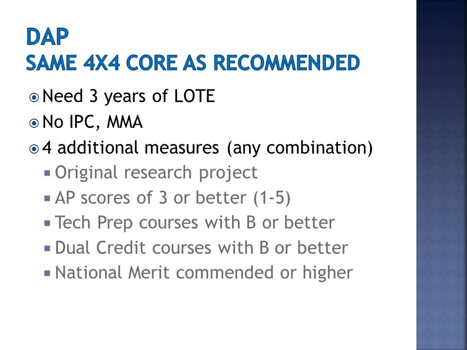  4 Core areas- 3 EOC exams per core  English I, II, III (reading and writing)  Algebra I, Geometry, Algebra II  Biology, Chemistry, Physics  W.