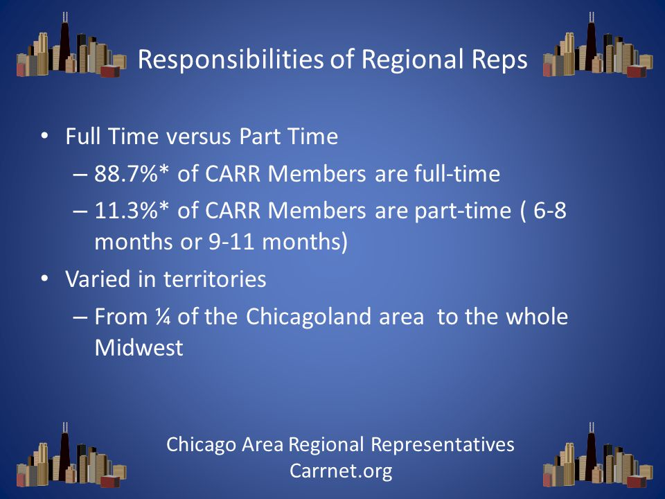 Responsibilities of Regional Reps Full Time versus Part Time – 88.7%* of CARR Members are full-time – 11.3%* of CARR Members are part-time ( 6-8 months or 9-11 months) Varied in territories – From ¼ of the Chicagoland area to the whole Midwest Chicago Area Regional Representatives Carrnet.org