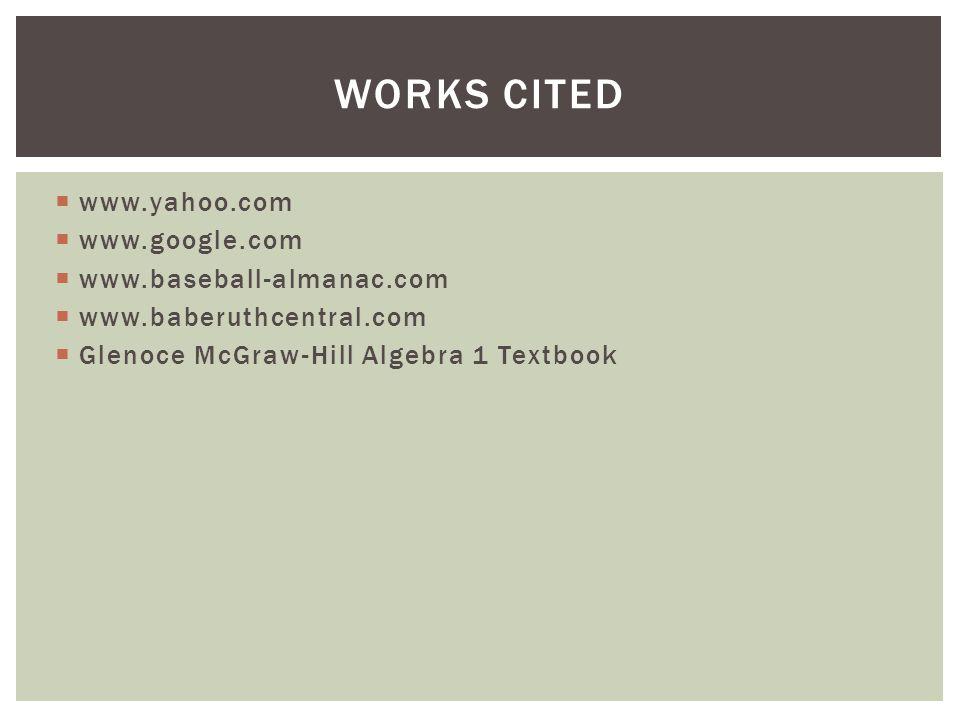  www.yahoo.com  www.google.com  www.baseball-almanac.com  www.baberuthcentral.com  Glenoce McGraw-Hill Algebra 1 Textbook WORKS CITED