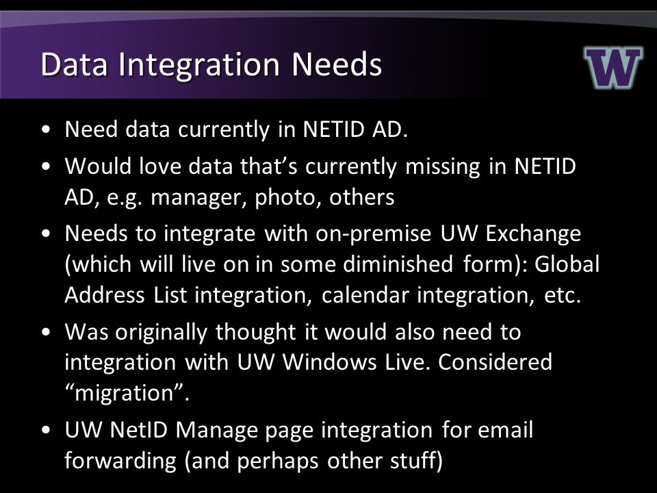 Data Integration Needs Need data currently in NETID AD.
