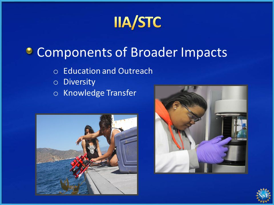 Components of Broader Impacts o Education and Outreach o Diversity o Knowledge Transfer