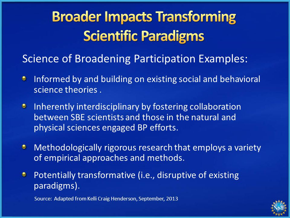 Science of Broadening Participation Examples: Informed by and building on existing social and behavioral science theories.
