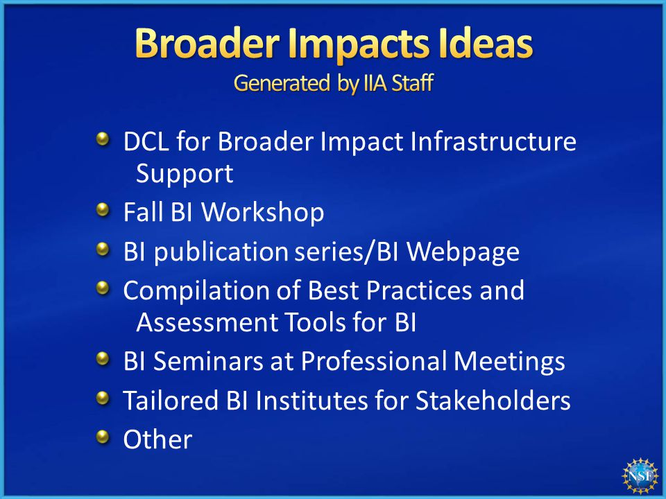DCL for Broader Impact Infrastructure Support Fall BI Workshop BI publication series/BI Webpage Compilation of Best Practices and Assessment Tools for BI BI Seminars at Professional Meetings Tailored BI Institutes for Stakeholders Other