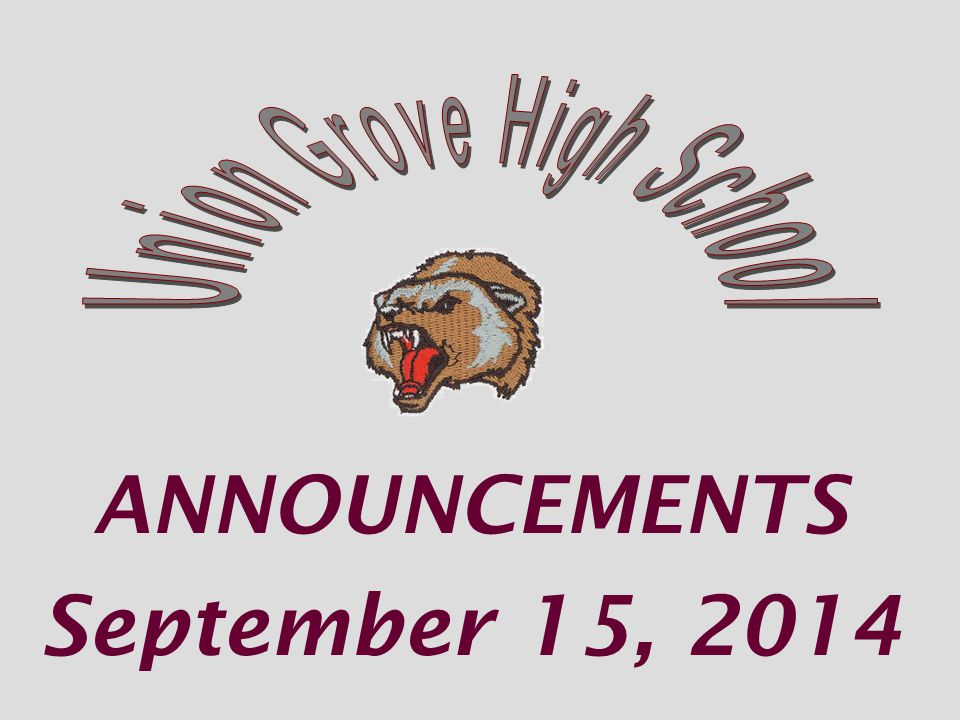 Union Grove's Gladiators @ Woodland HS Monday Sept 15 th at 6:30 pm