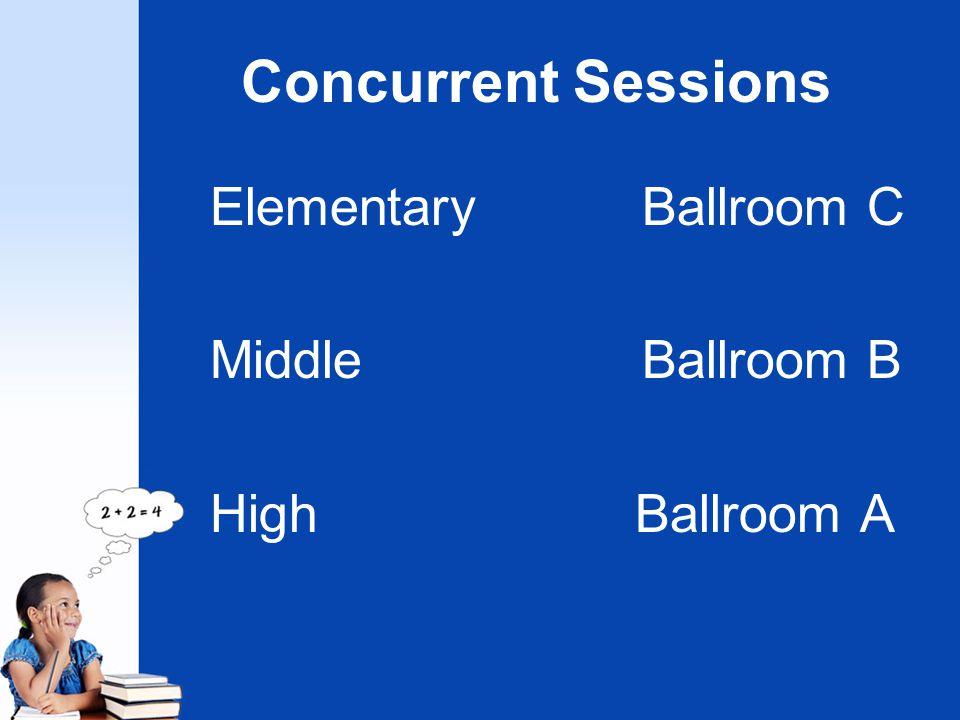 Concurrent Sessions ElementaryBallroom C MiddleBallroom B High Ballroom A