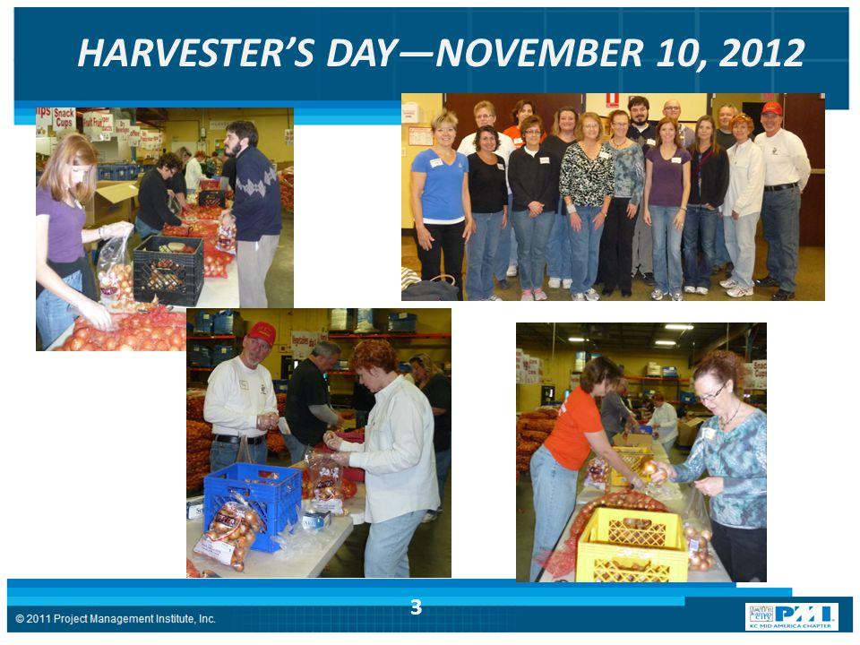 HARVESTER'S DAY—NOVEMBER 10, 2012 3