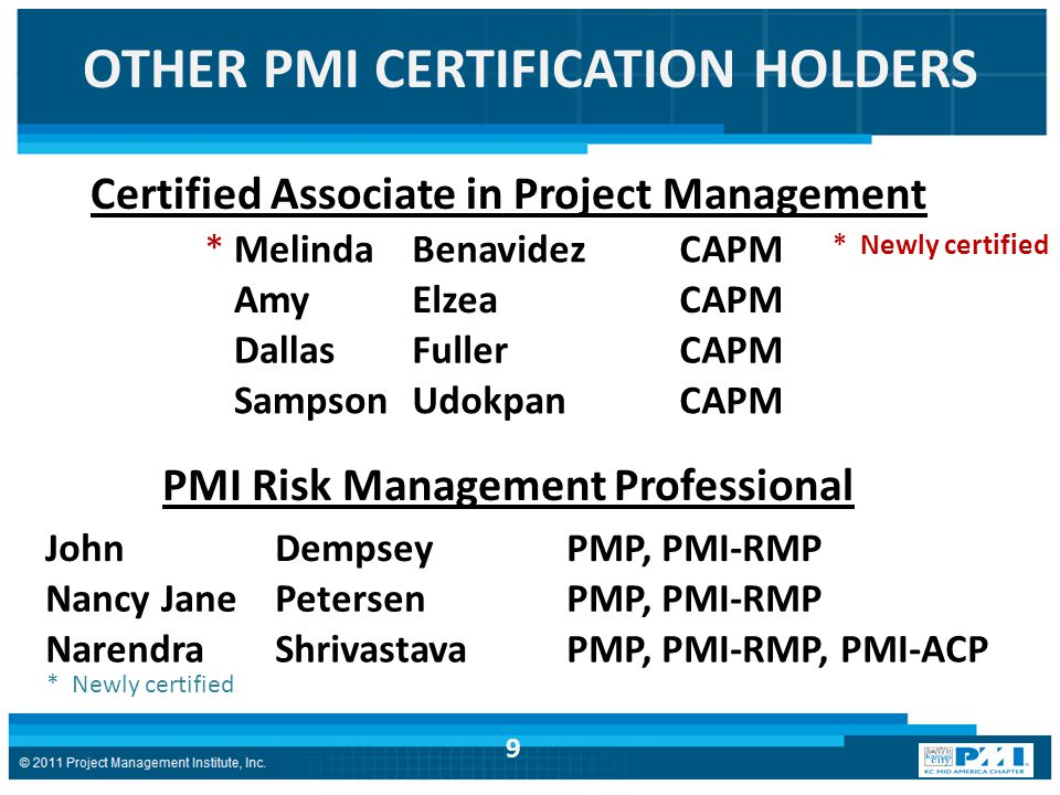 OTHER PMI CERTIFICATION HOLDERS.