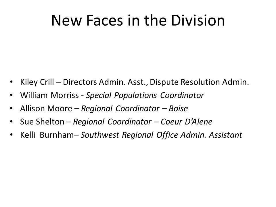New Faces in the Division Kiley Crill – Directors Admin.