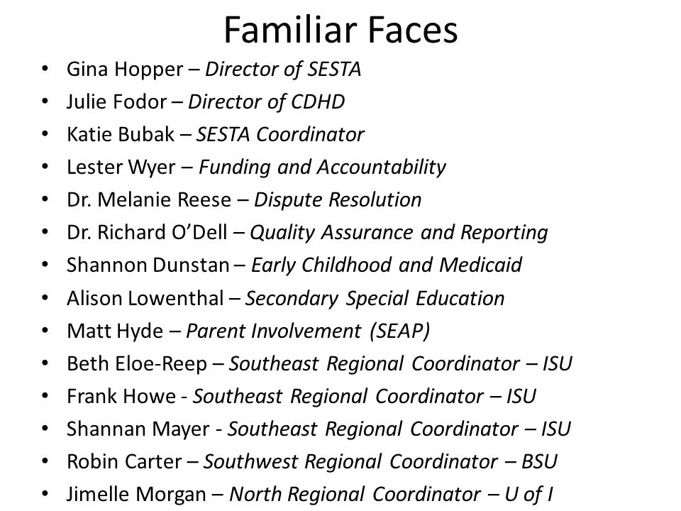 Familiar Faces Gina Hopper – Director of SESTA Julie Fodor – Director of CDHD Katie Bubak – SESTA Coordinator Lester Wyer – Funding and Accountability Dr.