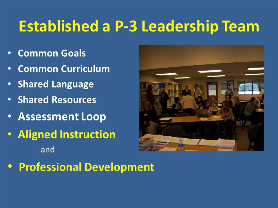 Established a P-3 Leadership Team Common Goals Common Curriculum Shared Language Shared Resources Assessment Loop Aligned Instruction and Professional