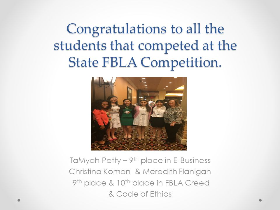 Congratulations to all the students that competed at the State FBLA Competition.