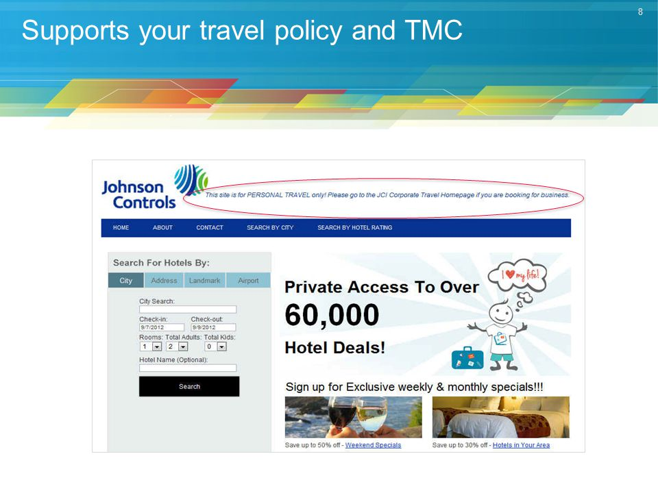 8 Supports your travel policy and TMC
