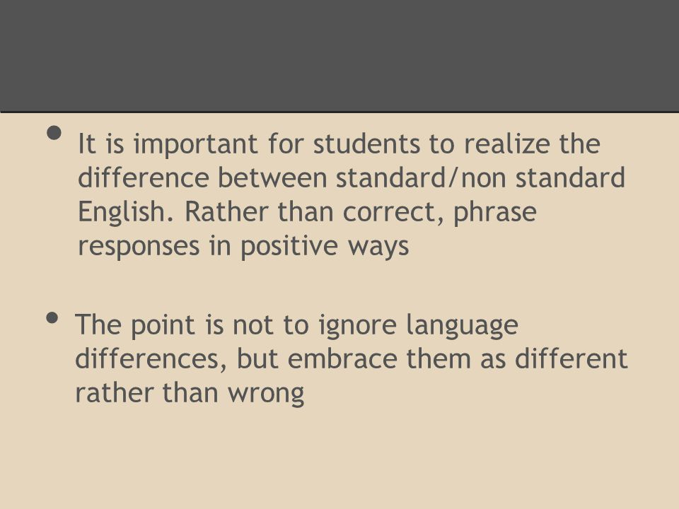 It is important for students to realize the difference between standard/non standard English.