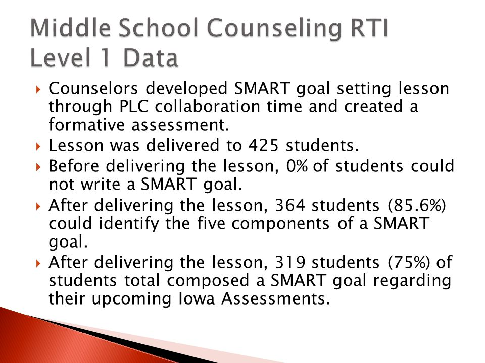  Counselors developed SMART goal setting lesson through PLC collaboration time and created a formative assessment.
