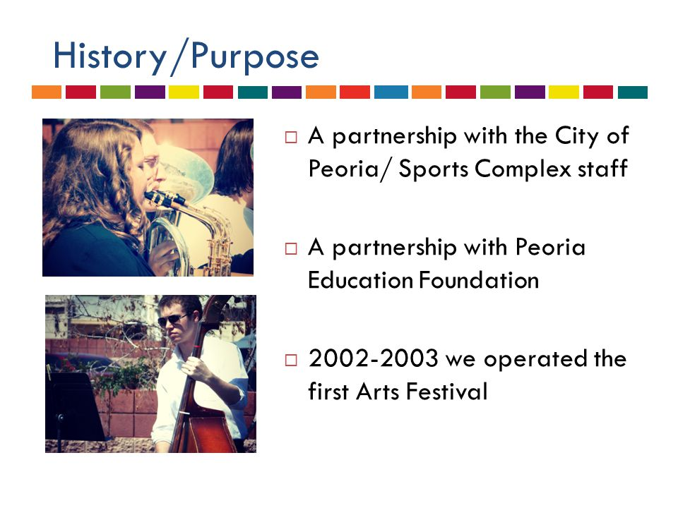 History/Purpose  A partnership with the City of Peoria/ Sports Complex staff  A partnership with Peoria Education Foundation  2002-2003 we operated the first Arts Festival