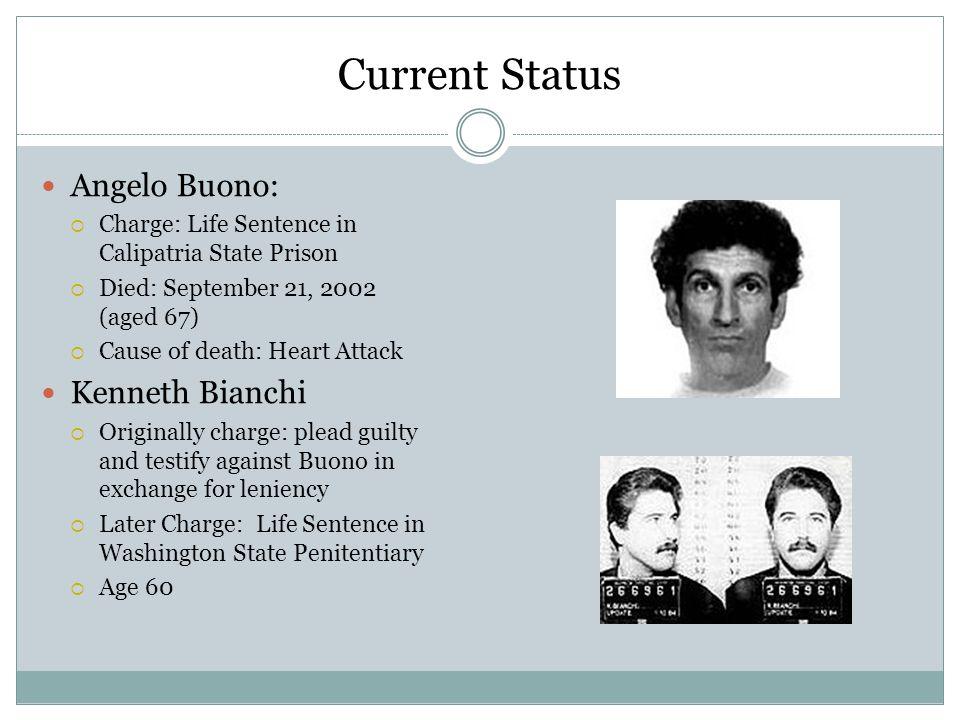 Websites http://www.biography.com/articles/Kenneth-Bianchi-12385185 http://www.biography.com/articles/Angelo-The-Hillside-Strangler-Buono- 12385174 http://www.trutv.com/library/crime/serial_killers/predators/stranglers/angel o_5.html http://www.trutv.com/library/crime/serial_killers/predators/stranglers/kenn y_4.html http://www.hillside-strangler.com/hillside_strangler-timeline_001.htm http://www.trutv.com/library/crime/serial_killers/predators/stranglers/7.ht ml http://www.trutv.com/library/crime/serial_killers/predators/stranglers/conn ect_3.html
