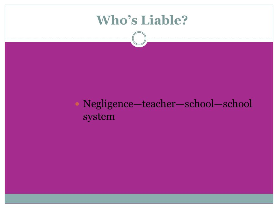 Who's Liable? Negligence—teacher—school—school system