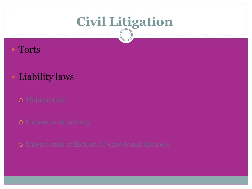Civil Litigation Torts Liability laws  Defamation  Invasion of privacy  Intentional infliction of emotional distress