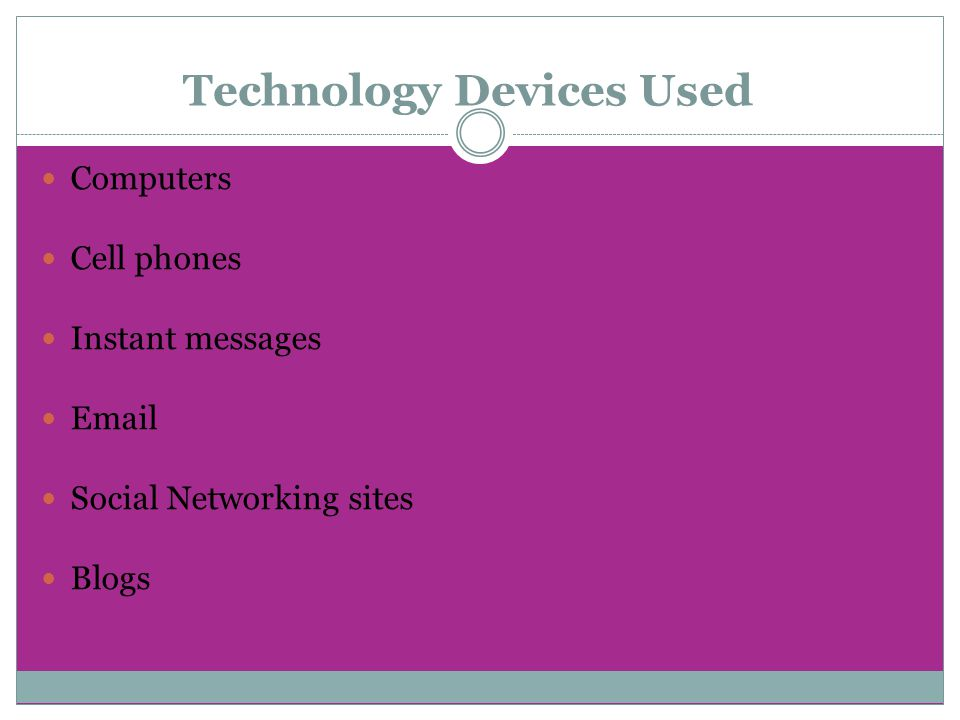 Technology Devices Used Computers Cell phones Instant messages Email Social Networking sites Blogs