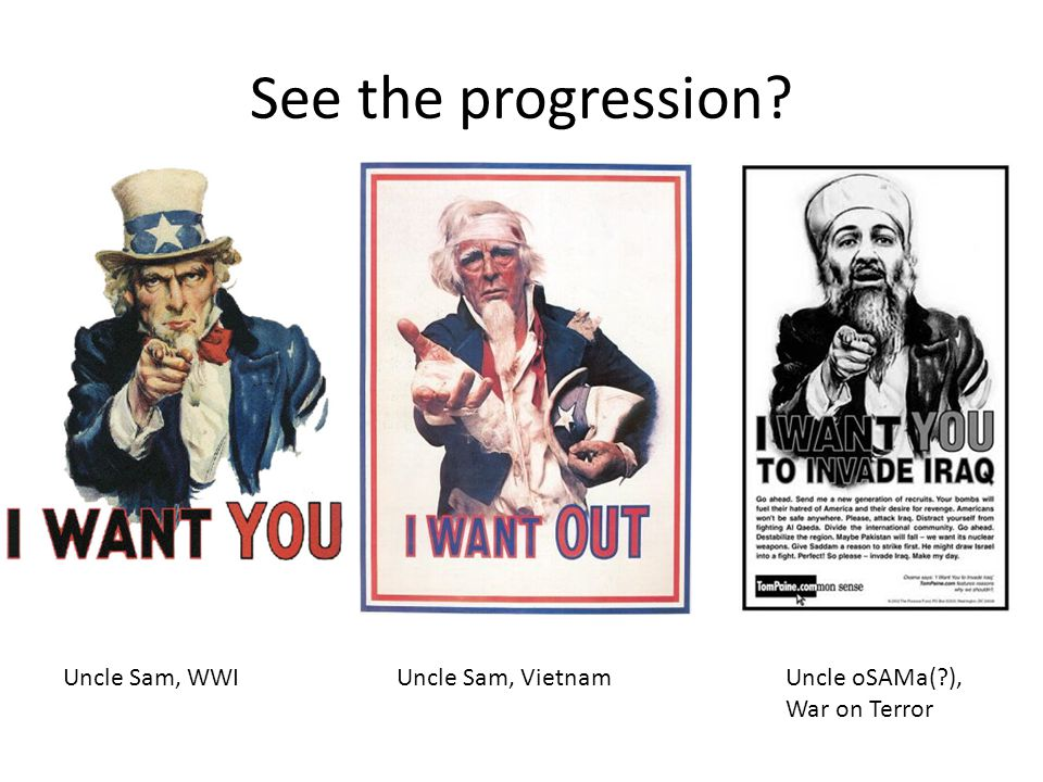 See the progression? Uncle Sam, WWIUncle Sam, VietnamUncle oSAMa(?), War on Terror