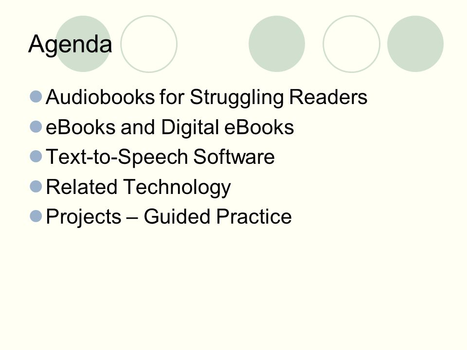 Agenda Audiobooks for Struggling Readers eBooks and Digital eBooks Text-to-Speech Software Related Technology Projects – Guided Practice
