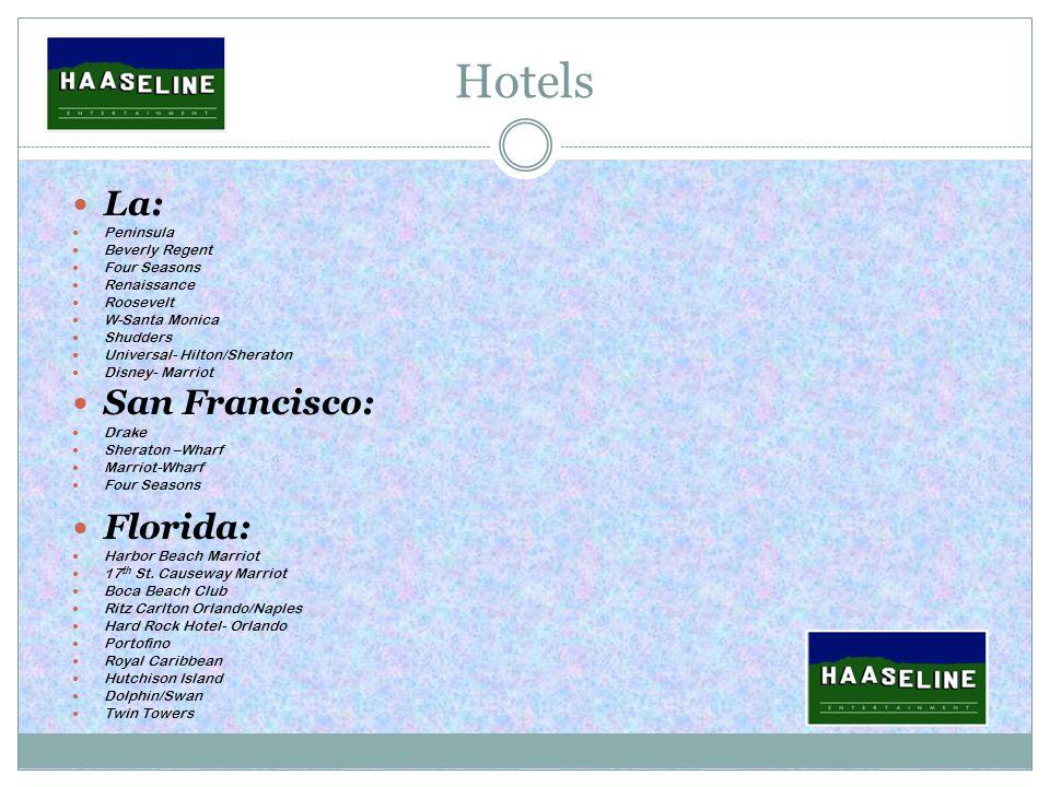 Hotels La: Peninsula Beverly Regent Four Seasons Renaissance Roosevelt W-Santa Monica Shudders Universal- Hilton/Sheraton Disney- Marriot San Francisco: Drake Sheraton –Wharf Marriot-Wharf Four Seasons Florida: Harbor Beach Marriot 17 th St.