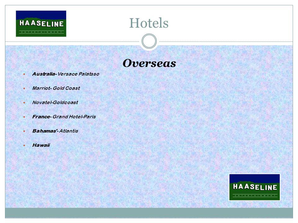 Hotels Overseas Australia- Versace Palatsso Marriot- Gold Coast Novatel-Goldcoast France- Grand Hotel-Paris Bahamas - Atlantis Hawaii