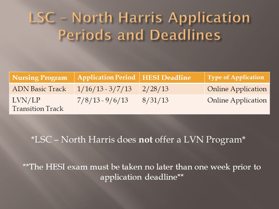 Nursing Program Application Period HESI Deadline Type of Application ADN Basic Track1/16/13 - 3/7/132/28/13Online Application LVN/LP Transition Track 7/8/13 - 9/6/138/31/13Online Application *LSC – North Harris does not offer a LVN Program* **The HESI exam must be taken no later than one week prior to application deadline**