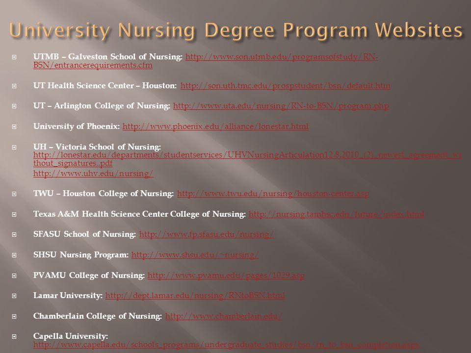  UTMB – Galveston School of Nursing: http://www.son.utmb.edu/programsofstudy/RN- BSN/entrancerequirements.cfmhttp://www.son.utmb.edu/programsofstudy/RN- BSN/entrancerequirements.cfm  UT Health Science Center – Houston: http://son.uth.tmc.edu/prospstudent/bsn/default.htmhttp://son.uth.tmc.edu/prospstudent/bsn/default.htm  UT – Arlington College of Nursing: http://www.uta.edu/nursing/RN-to-BSN/program.phphttp://www.uta.edu/nursing/RN-to-BSN/program.php  University of Phoenix: http://www.phoenix.edu/alliance/lonestar.htmlhttp://www.phoenix.edu/alliance/lonestar.html  UH – Victoria School of Nursing: http://lonestar.edu/departments/studentservices/UHVNursingArticulation12.8.2010_(2)_newest_agreement_wi thout_signatures..pdf http://lonestar.edu/departments/studentservices/UHVNursingArticulation12.8.2010_(2)_newest_agreement_wi thout_signatures..pdf http://www.uhv.edu/nursing/  TWU – Houston College of Nursing: http://www.twu.edu/nursing/houston-center.asphttp://www.twu.edu/nursing/houston-center.asp  Texas A&M Health Science Center College of Nursing: http://nursing.tamhsc.edu/future/index.html http://nursing.tamhsc.edu/future/index.html  SFASU School of Nursing: http://www.fp.sfasu.edu/nursing/http://www.fp.sfasu.edu/nursing/  SHSU Nursing Program: http://www.shsu.edu/~nursing/ http://www.shsu.edu/~nursing/  PVAMU College of Nursing: http://www.pvamu.edu/pages/1029.asphttp://www.pvamu.edu/pages/1029.asp  Lamar University: http://dept.lamar.edu/nursing/RNtoBSN.htmlhttp://dept.lamar.edu/nursing/RNtoBSN.html  Chamberlain College of Nursing: http://www.chamberlain.edu/http://www.chamberlain.edu/  Capella University: http://www.capella.edu/schools_programs/undergraduate_studies/bsn/rn_to_bsn_completion.aspx http://www.capella.edu/schools_programs/undergraduate_studies/bsn/rn_to_bsn_completion.aspx