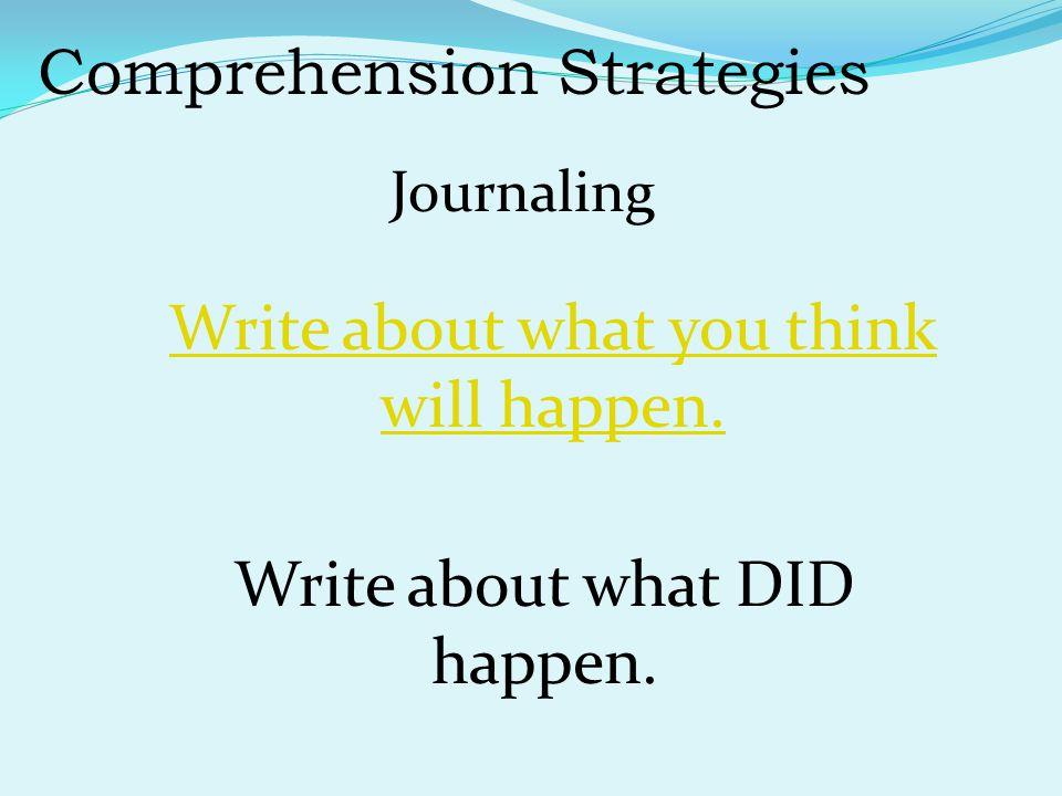 Comprehension Strategies Journaling Write about what DID happen.