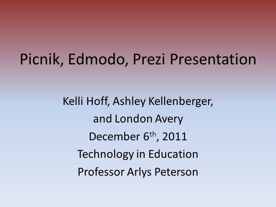 Picnik, Edmodo, Prezi Presentation Kelli Hoff, Ashley Kellenberger, and London Avery December 6 th, 2011 Technology in Education Professor Arlys Peter
