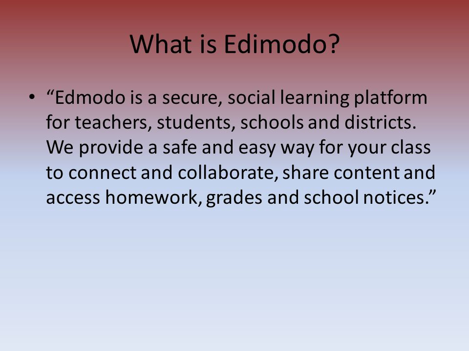 """Edmodo is a secure, social learning platform for teachers, students, schools and districts. We provide a safe and easy way for your class to connect"
