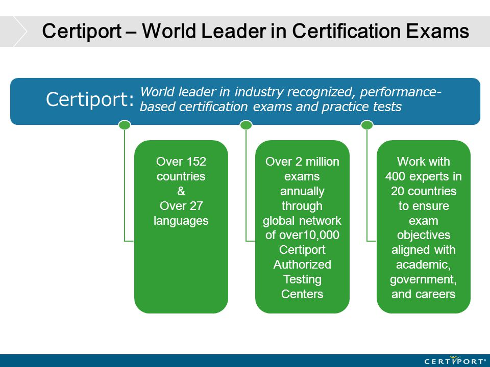 Certiport – World Leader in Certification Exams World leader in industry recognized, performance- based certification exams and practice tests Over 15