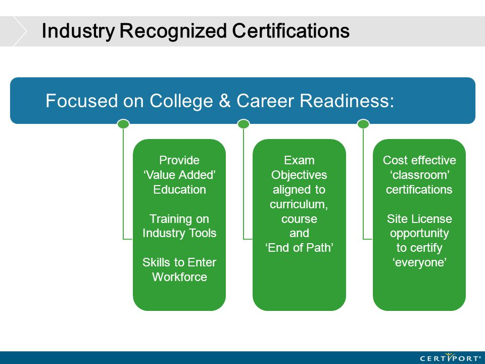 Industry Recognized Certifications Provide 'Value Added' Education Training on Industry Tools Skills to Enter Workforce Exam Objectives aligned to cur