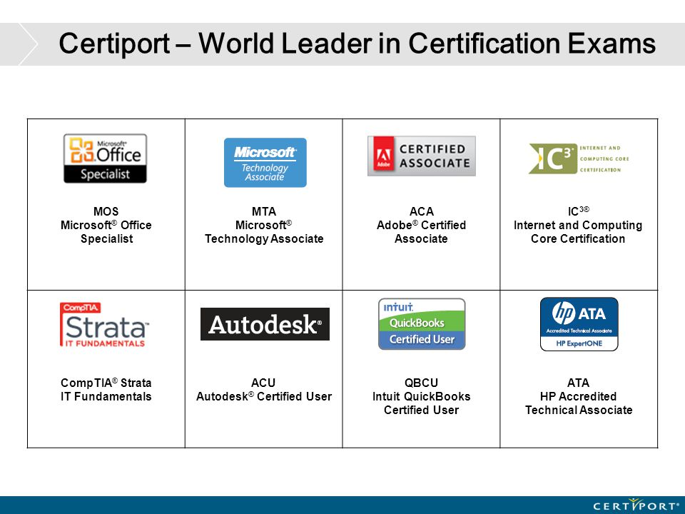 Certiport – World Leader in Certification Exams MOS Microsoft ® Office Specialist MTA Microsoft ® Technology Associate ACA Adobe ® Certified Associate
