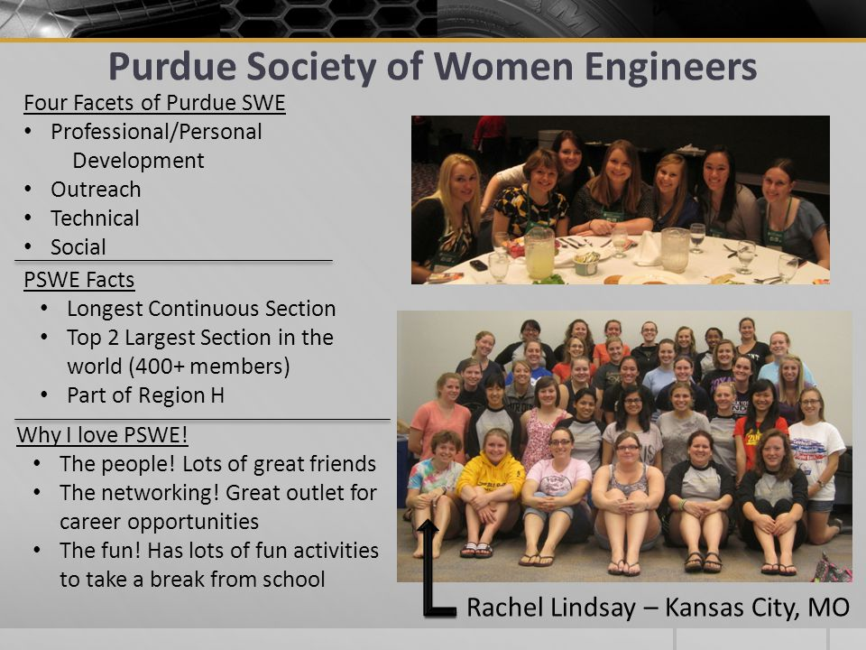 Purdue Society of Women Engineers PSWE Facts Longest Continuous Section Top 2 Largest Section in the world (400+ members) Part of Region H Four Facets