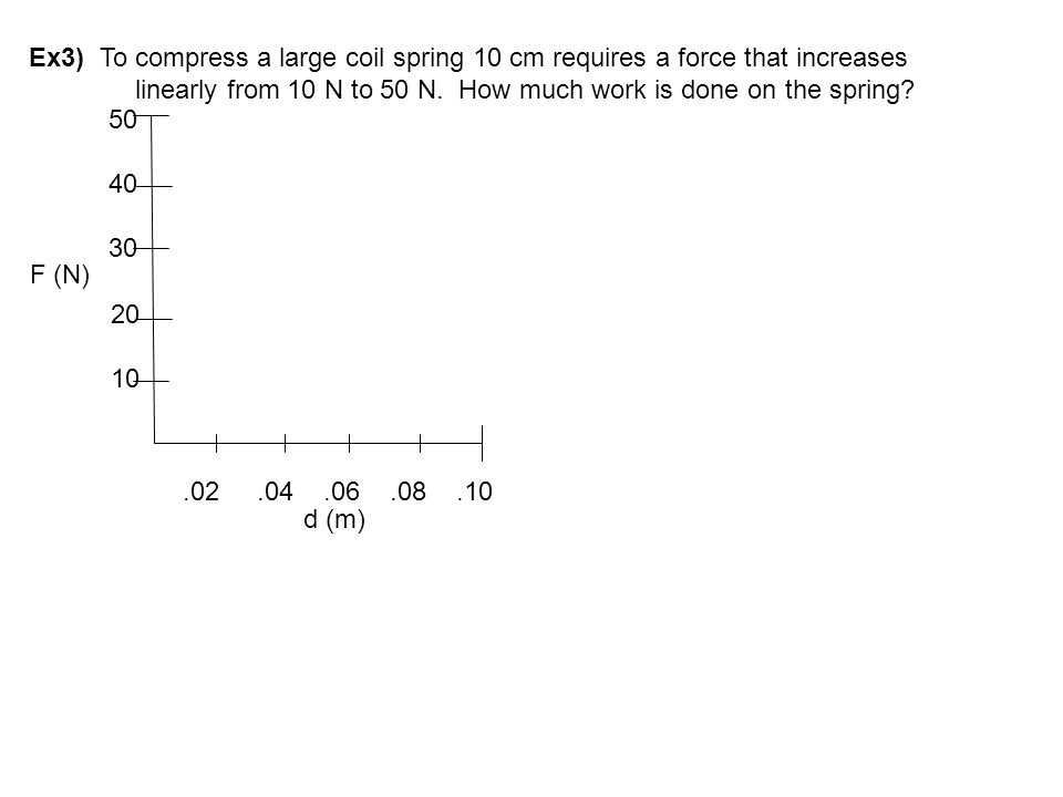 Ex3) To compress a large coil spring 10 cm requires a force that increases linearly from 10 N to 50 N. How much work is done on the spring? 20 10 50 4