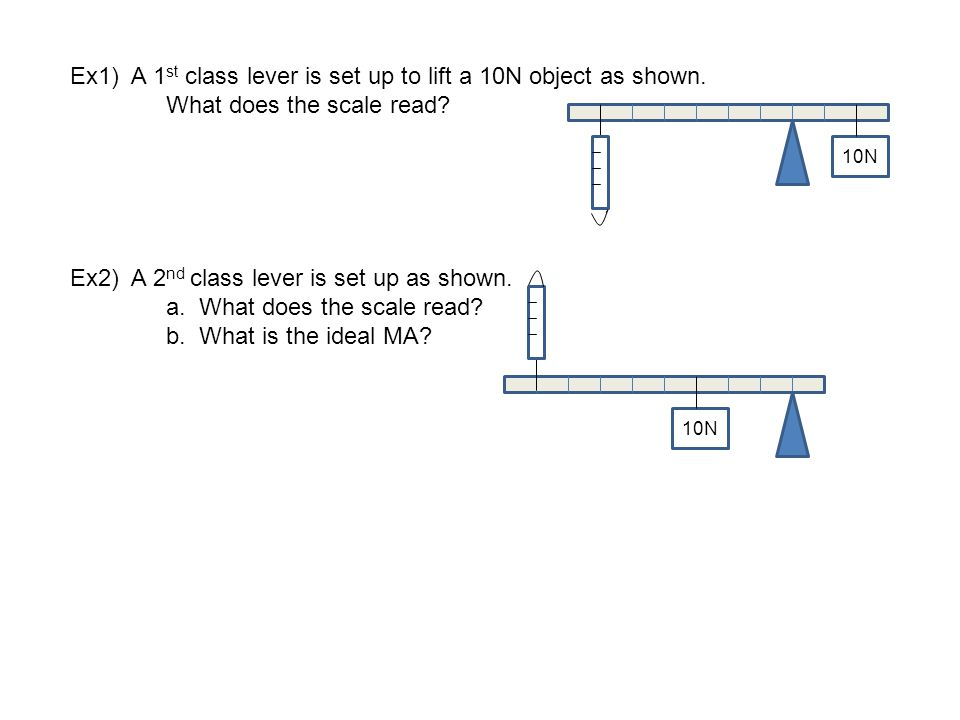 Ex1) A 1 st class lever is set up to lift a 10N object as shown. What does the scale read? Ex2) A 2 nd class lever is set up as shown. a. What does th