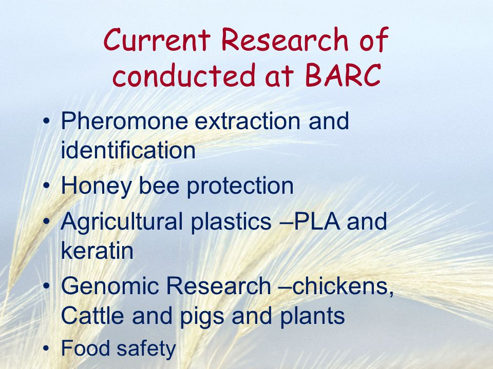 Current Research of conducted at BARC Pheromone extraction and identification Honey bee protection Agricultural plastics –PLA and keratin Genomic Rese