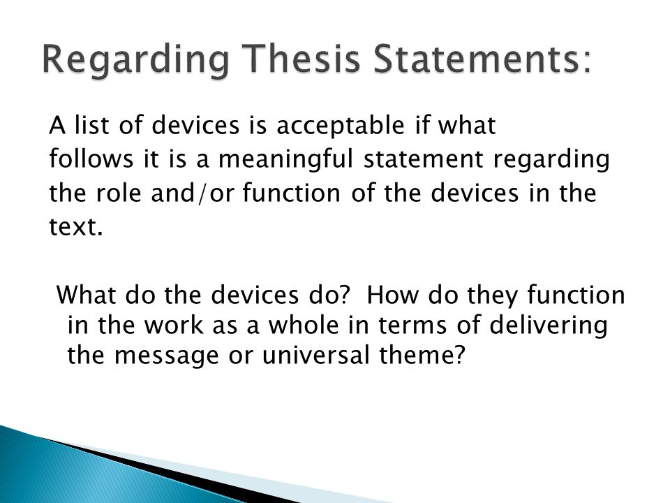 A list of devices is acceptable if what follows it is a meaningful statement regarding the role and/or function of the devices in the text. What do th