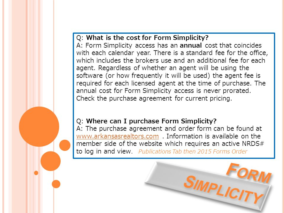 Q: What is the cost for Form Simplicity.
