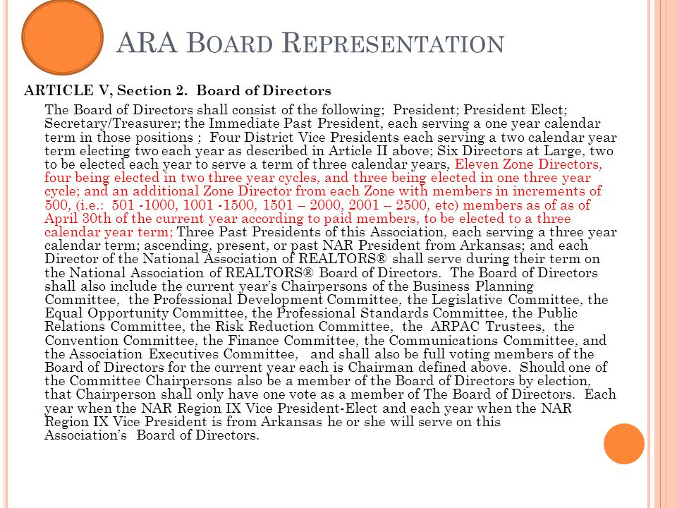 ARA B OARD R EPRESENTATION ARTICLE V, Section 2.