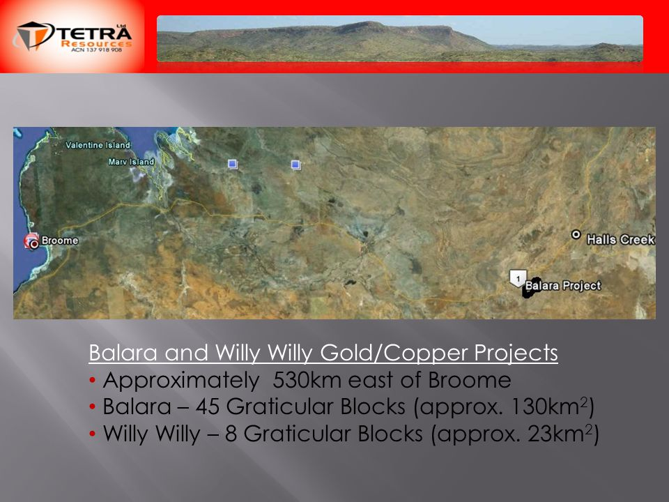 Balara and Willy Willy Gold/Copper Projects Approximately 530km east of Broome Balara – 45 Graticular Blocks (approx.