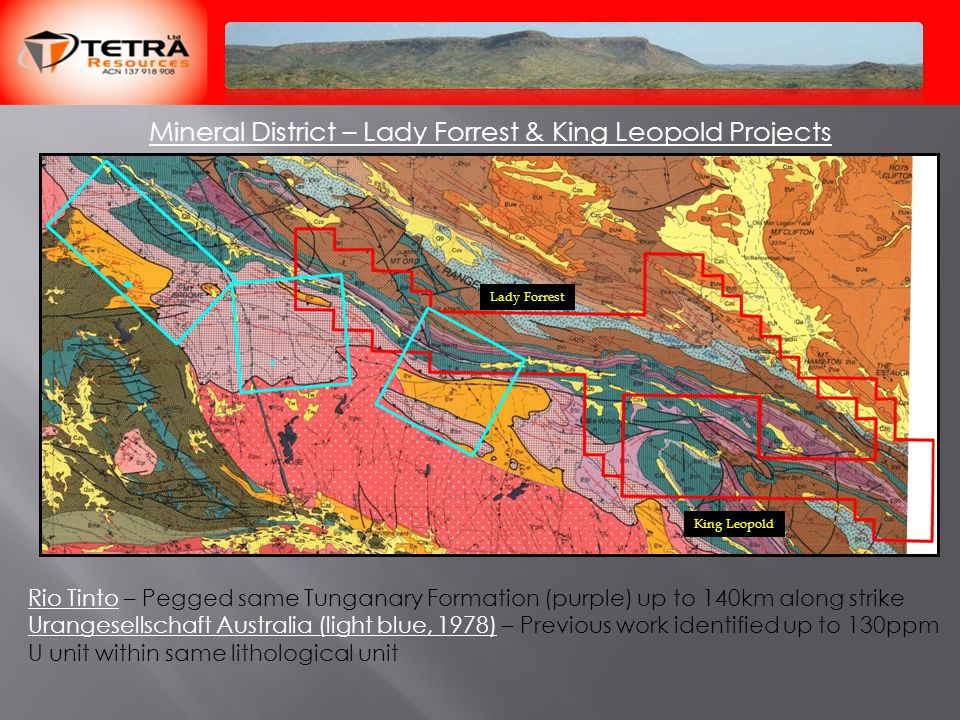 Mineral District – Lady Forrest & King Leopold Projects Rio Tinto – Pegged same Tunganary Formation (purple) up to 140km along strike Urangesellschaft Australia (light blue, 1978) – Previous work identified up to 130ppm U unit within same lithological unit Lady Forrest King Leopold