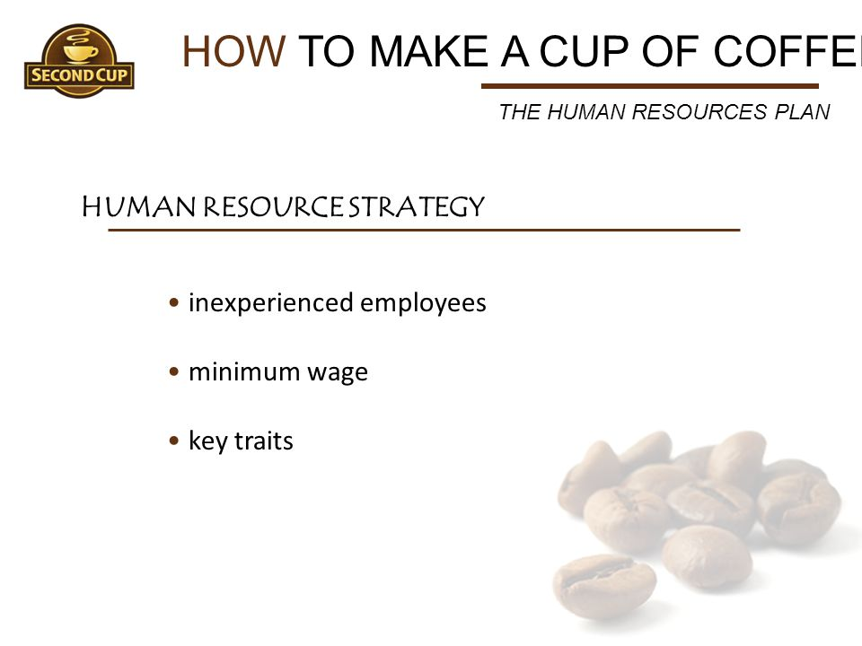 HOW TO MAKE A CUP OF COFFEE HUMAN RESOURCE STRATEGY THE HUMAN RESOURCES PLAN inexperienced employees minimum wage key traits