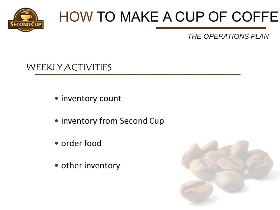 HOW TO MAKE A CUP OF COFFEE WEEKLY ACTIVITIES inventory count inventory from Second Cup order food other inventory THE OPERATIONS PLAN