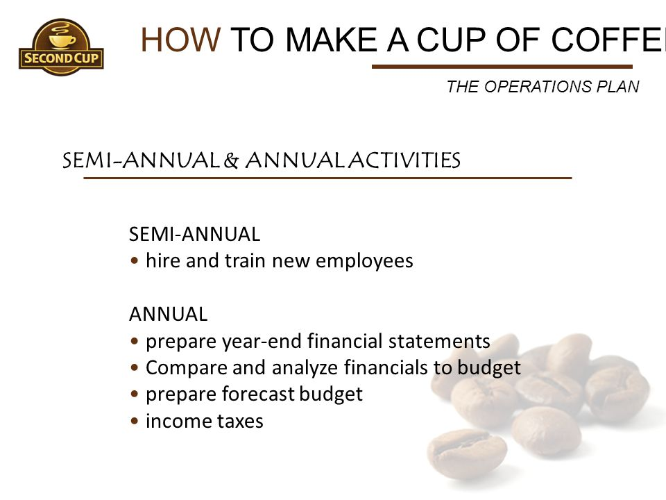 HOW TO MAKE A CUP OF COFFEE SEMI-ANNUAL & ANNUAL ACTIVITIES SEMI-ANNUAL hire and train new employees ANNUAL prepare year-end financial statements Comp
