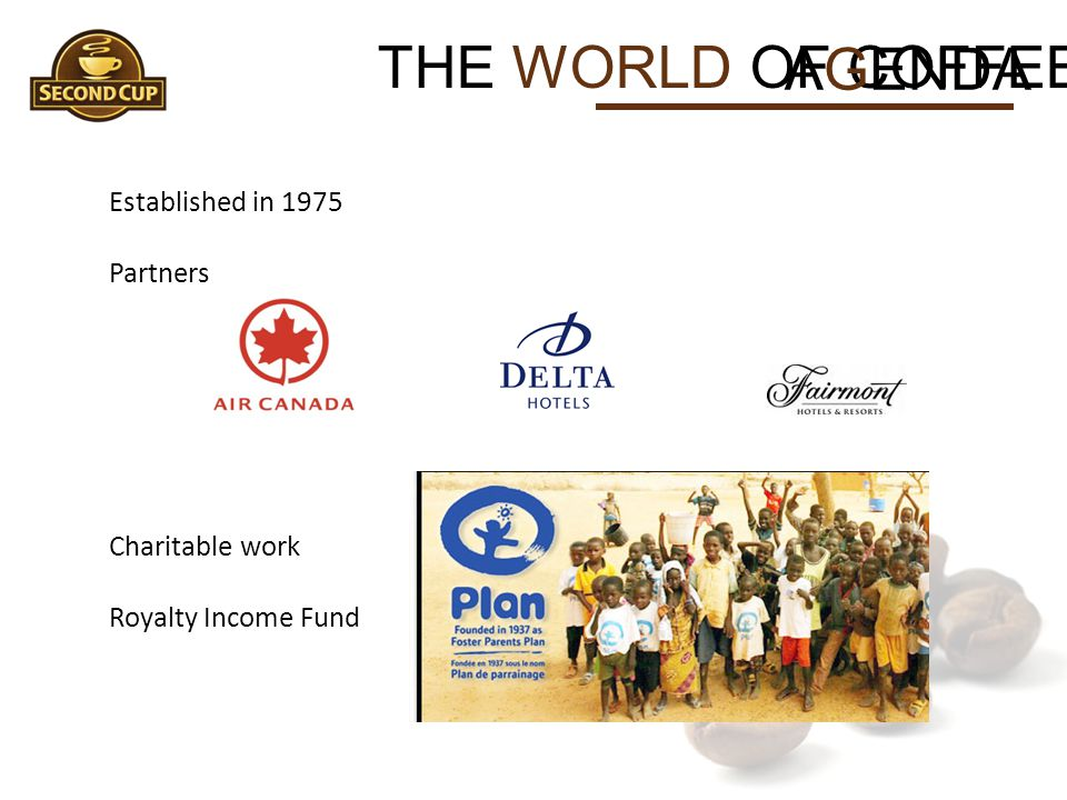 THE WORLD OF COFFEE AGENDA Established in 1975 Partners Charitable work Royalty Income Fund